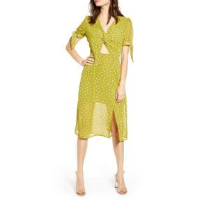 J.O.A. Twist Front FLoral Tie Midi Dress Lime S